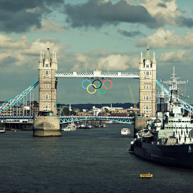 """Tower Bridge with the Olympic Rings"" stock image"