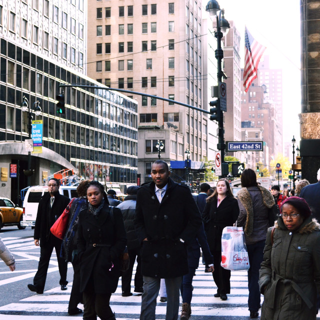 """People Crossing 42nd Street."" stock image"