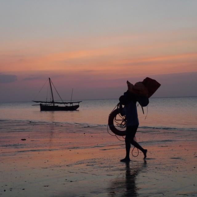 """Sunset at Mafia Island"" stock image"