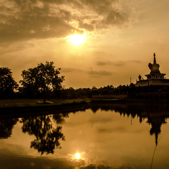 """Lumbini Reflections"" stock image"