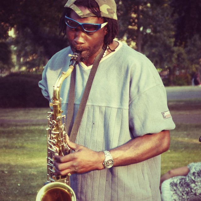 """Sax in the park"" stock image"
