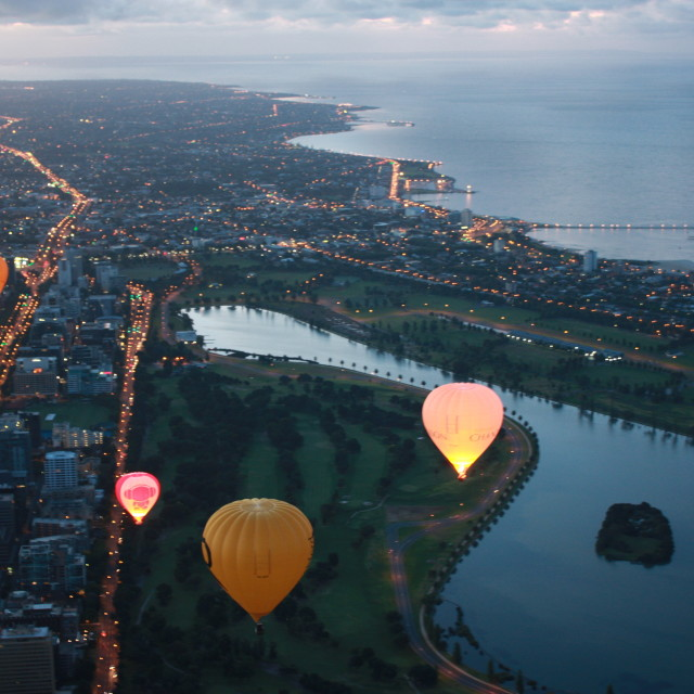 """Hot Air Balloons Over Melbourne"" stock image"