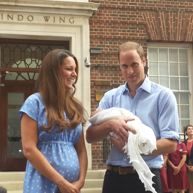 """""""William and Kate unveil the new Prince of Cambridge"""" stock image"""