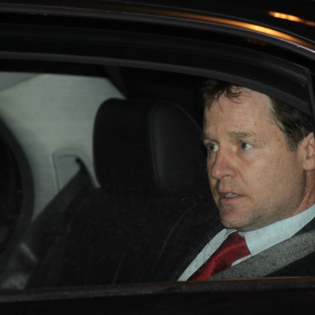 """Nick Clegg looking worried"" stock image"