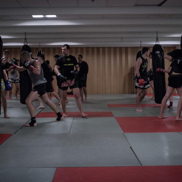 """""""Gym - Estonia Punchbags"""" stock image"""