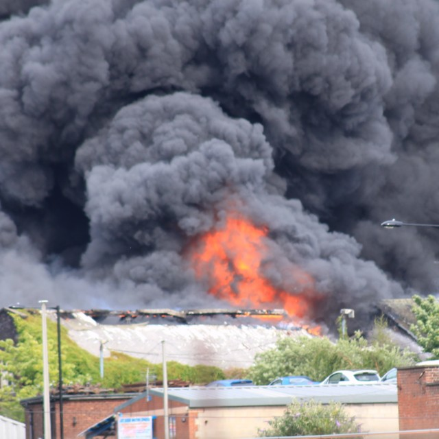 """Sheffield factory fire"" stock image"
