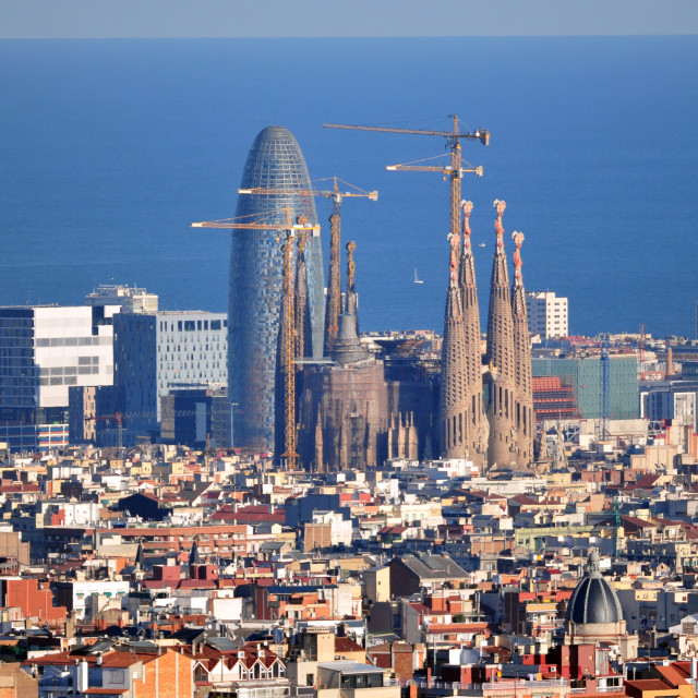 """Barcelona: Sagrada Familia and Torre Agbar"" stock image"