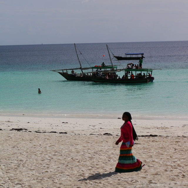 """""""African woman and dhow"""" stock image"""