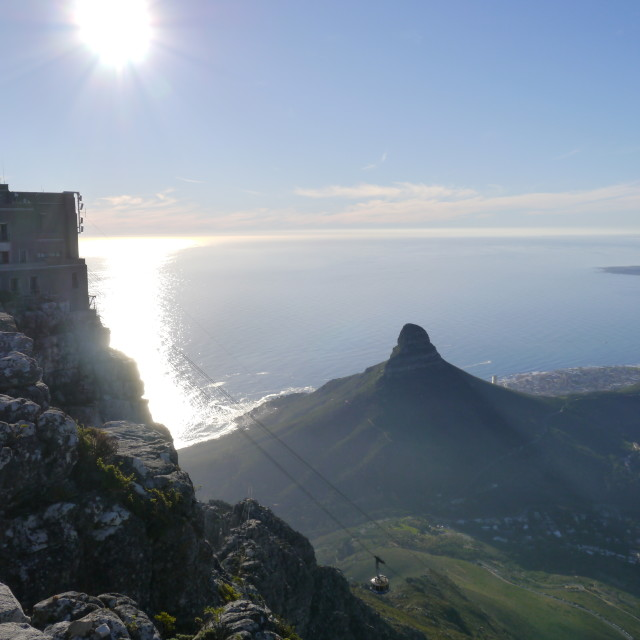 """""""Table Mountain, Lion's Head, and Robben Island"""" stock image"""