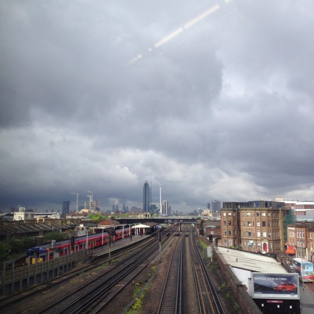 """Storm over Battersea"" stock image"