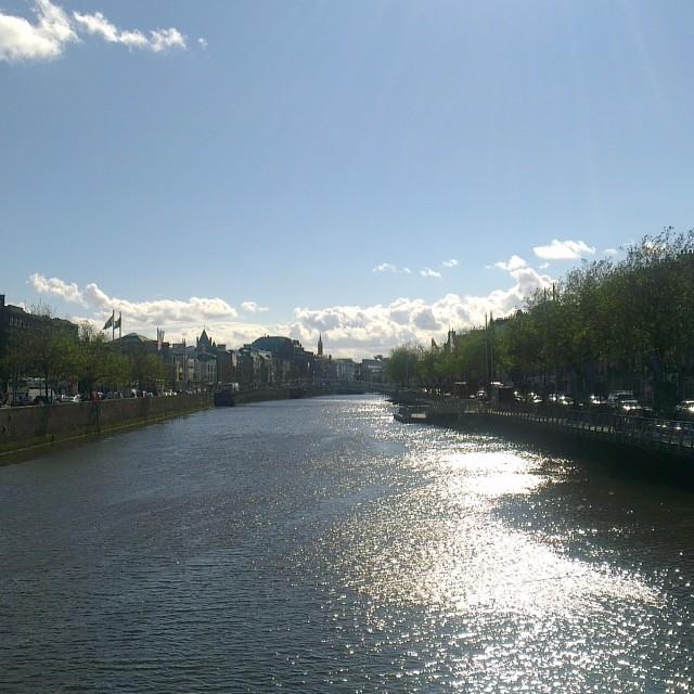 """Glistening River Liffey, Dublin"" stock image"