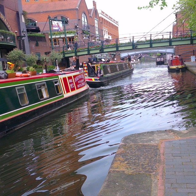 """Canal Boats in Birmingham"" stock image"