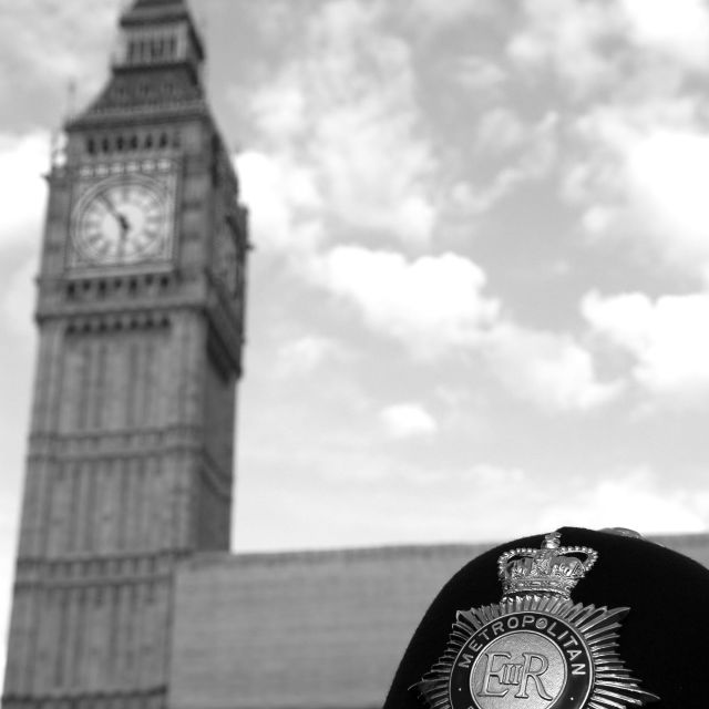 """London Metropolitan Police with Big Ben in the background"" stock image"