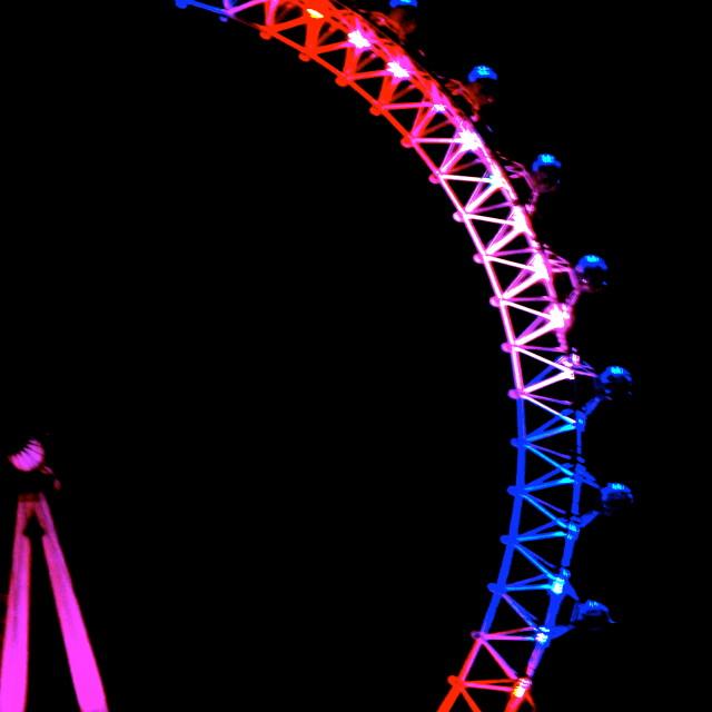 """Half of the London Eye. Union Jack Colours"" stock image"
