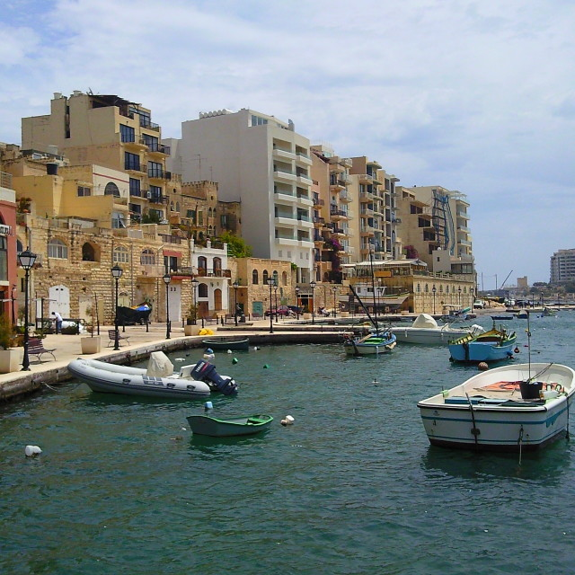 """St Julian's Bay in Malta"" stock image"