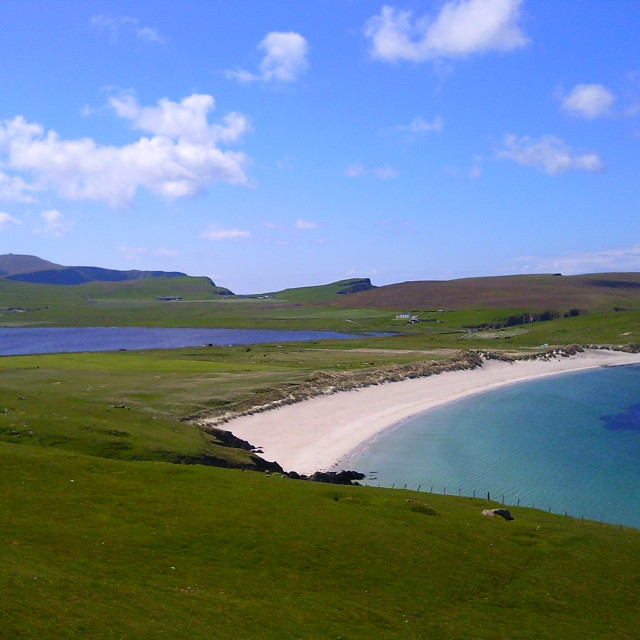 """Loch of Speggie and Speggie Beach on the Shetland Islands Scotland"" stock image"