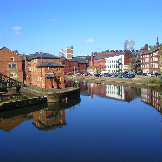 """Waterfront in Leeds, Yorkshire, England"" stock image"