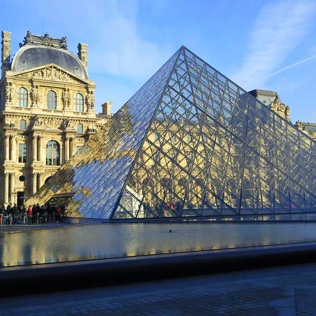 """The Louvre Pyramid in Paris, France"" stock image"