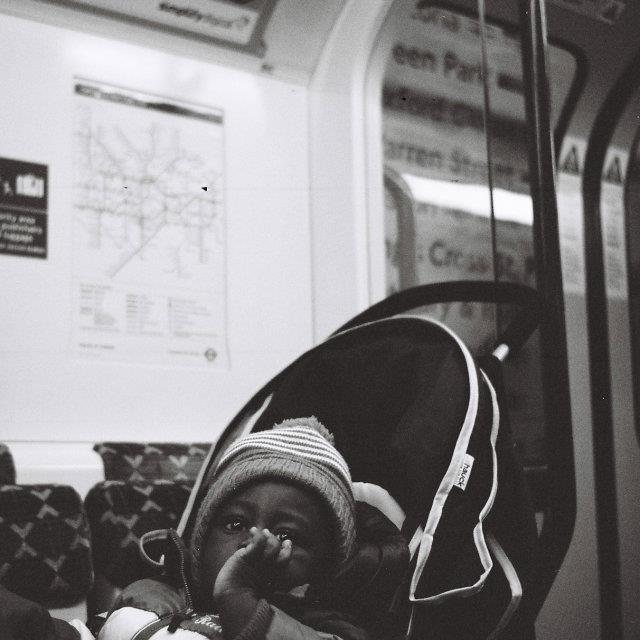 """Baby on the Tube"" stock image"