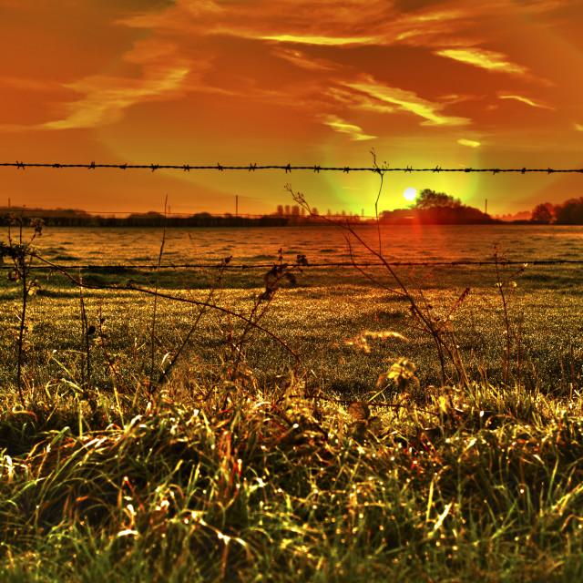 """Sunrise in Cheshire"" stock image"