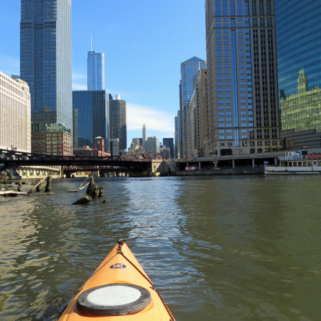 """Chicago by kayak"" stock image"
