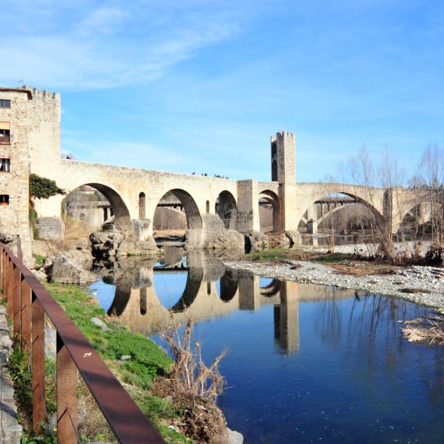 """Medieval Town Besalu, Catalonia, Spain"" stock image"