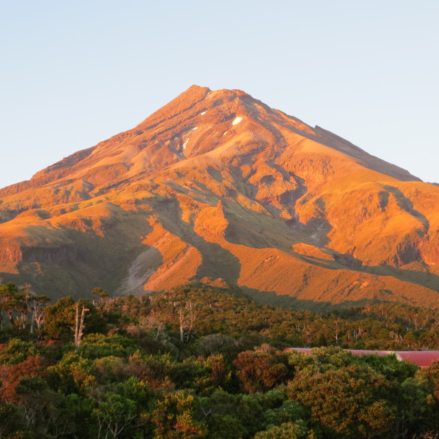 """Mt Taranaki sunrise"" stock image"