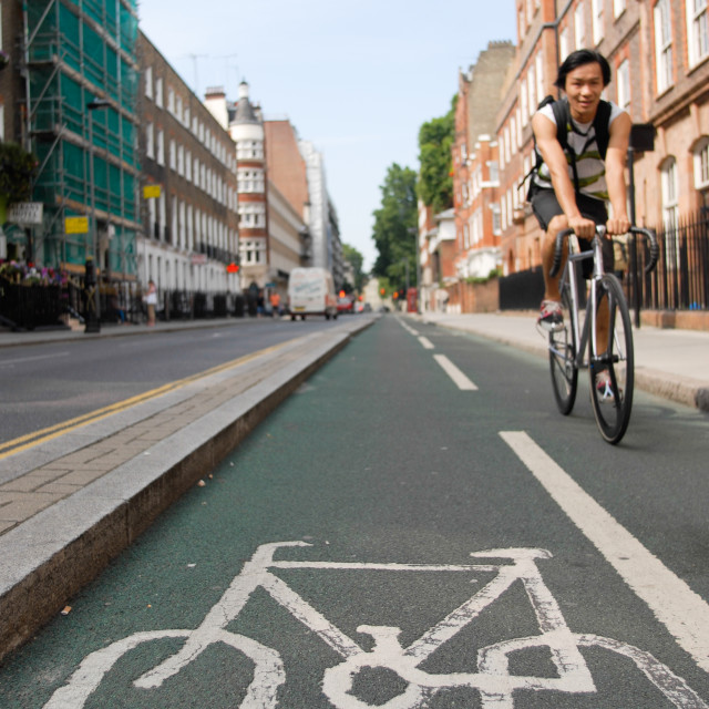 """Cycle lane London"" stock image"