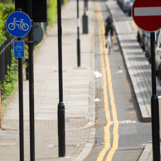"""Cycle lane London hill"" stock image"