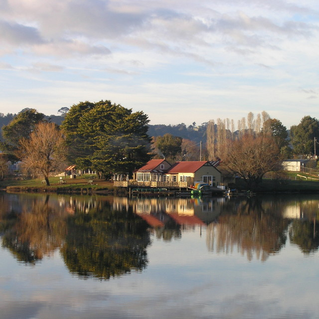 """The Boathouse, Daylesford, Victoria, Australia"" stock image"