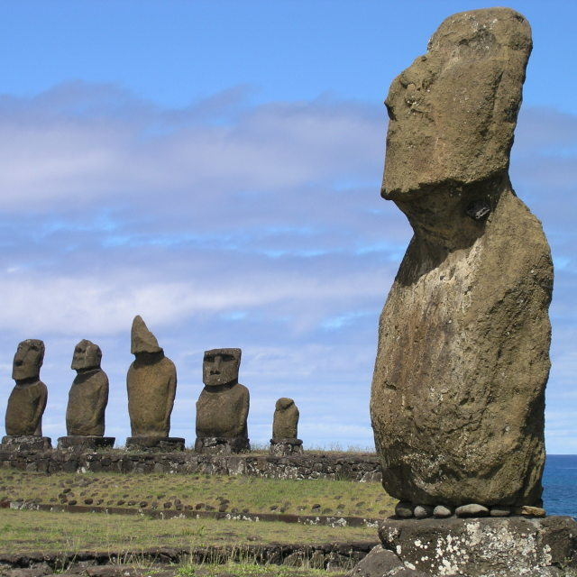 """Stone Statues, Easter Island"" stock image"