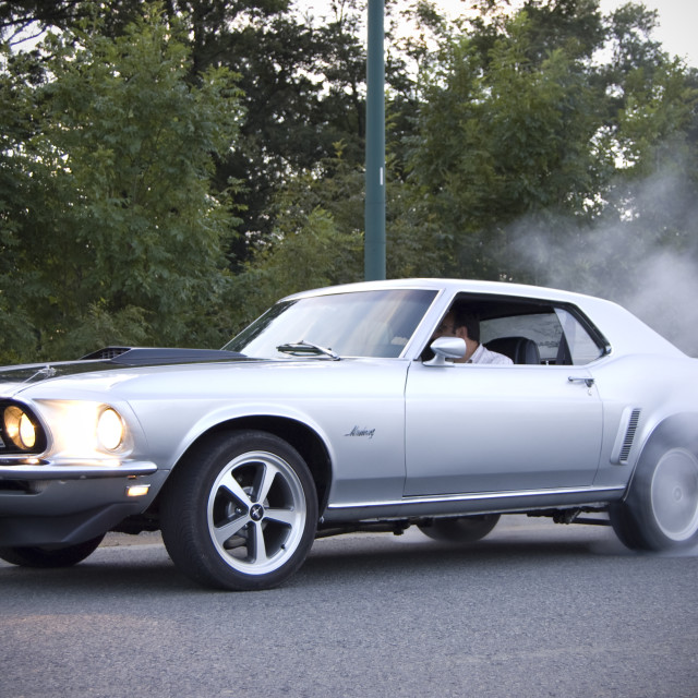 """Ford Mustang 1969 - Burnout"" stock image"