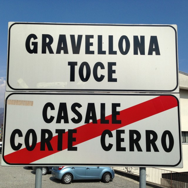 """Road sign, Gravellona Toce, Italy"" stock image"