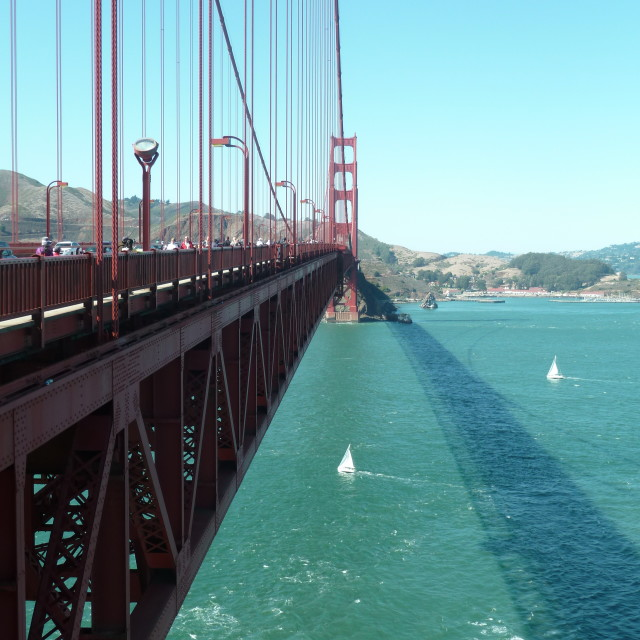"""Ship going under Golden Gate Bridge"" stock image"