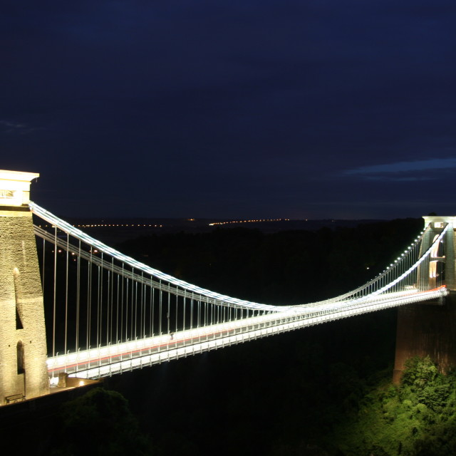 """Clifton Suspension Bridge at night"" stock image"