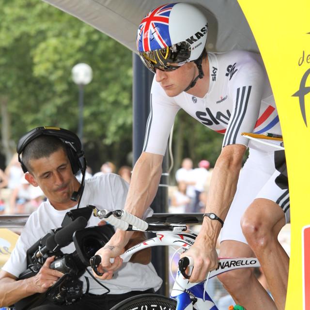 """""""Bradley Wiggins, 2010 Tour de France, Bordeaux ITT"""" stock image"""