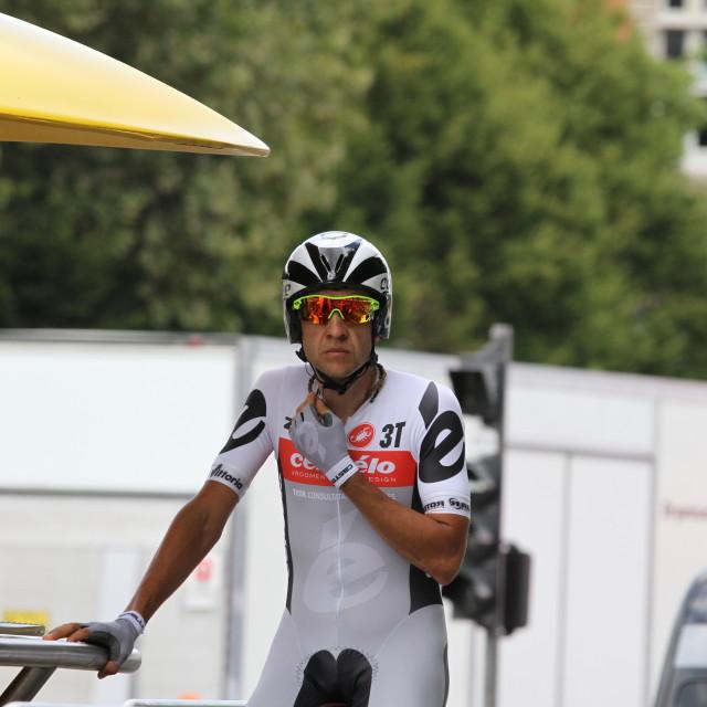 """""""Carlos Sastre, 2010 Tour de France, Bordeaux ITT"""" stock image"""