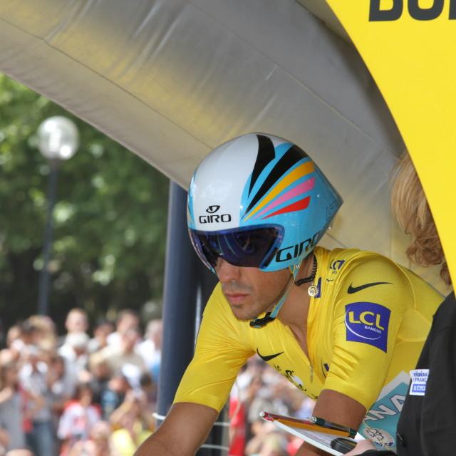 """""""Alberto Contador, 2010 Tour de France, Bordeaux ITT"""" stock image"""