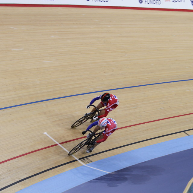 """Track cycling at the London Olympic Velodrome"" stock image"