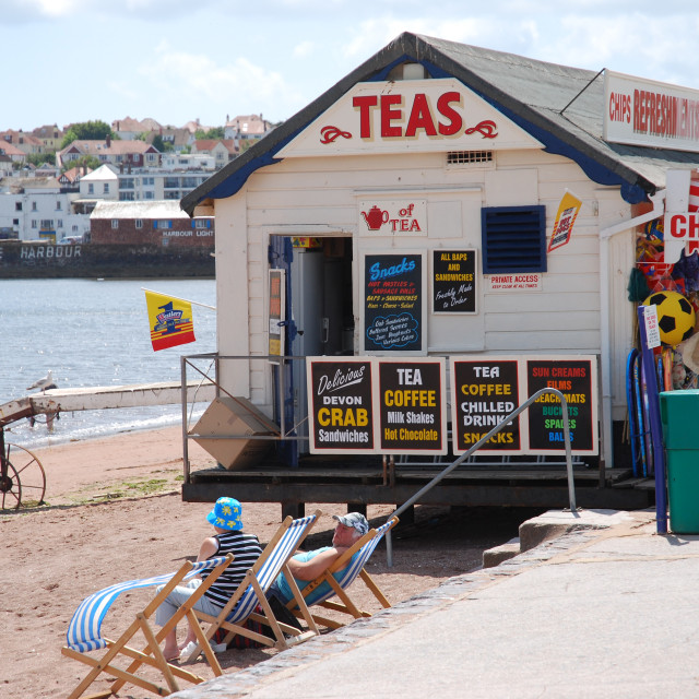 """Tea hut by the sea"" stock image"