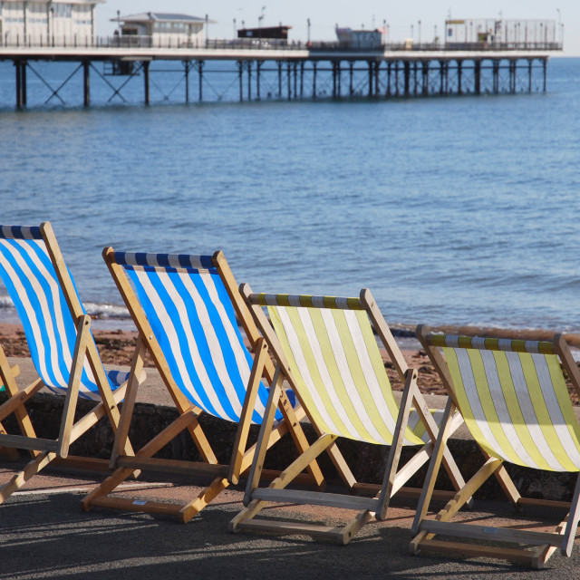 """Paignton Pier and deck chairs"" stock image"
