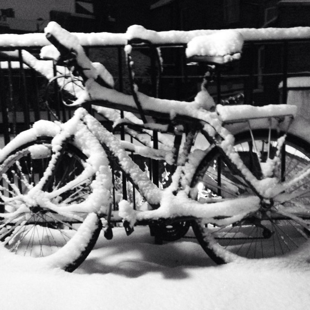 """Snowy Bike"" stock image"