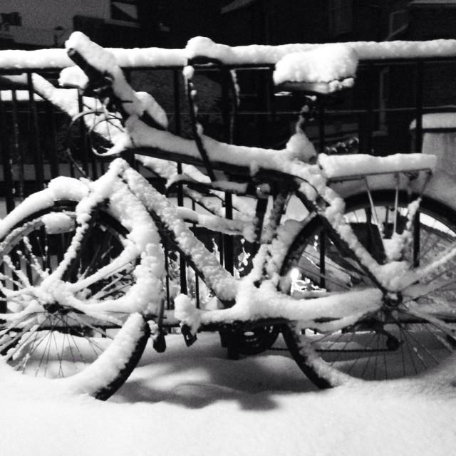 """Snowy Bike"" stock image"