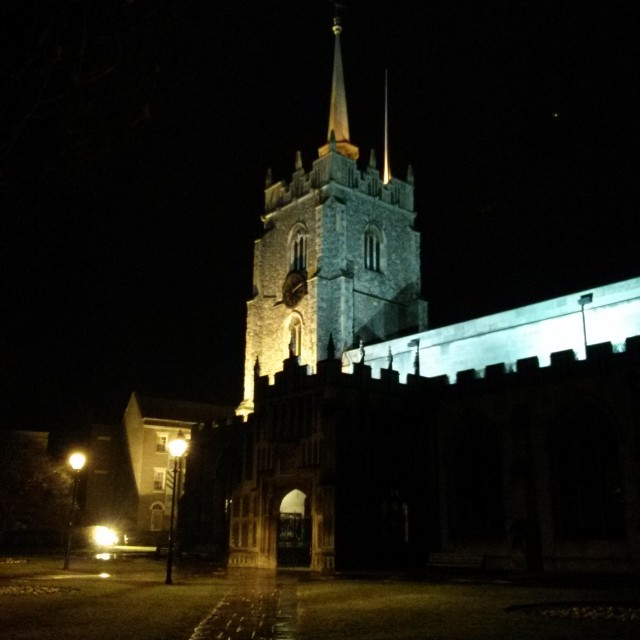 """Chelmsford cathedral by night."" stock image"