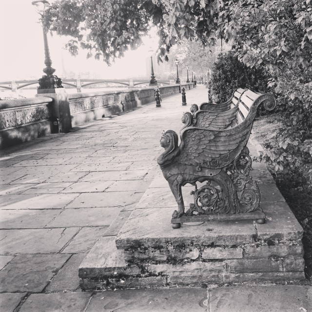 """Black and White Bench on Thames Embankment"" stock image"