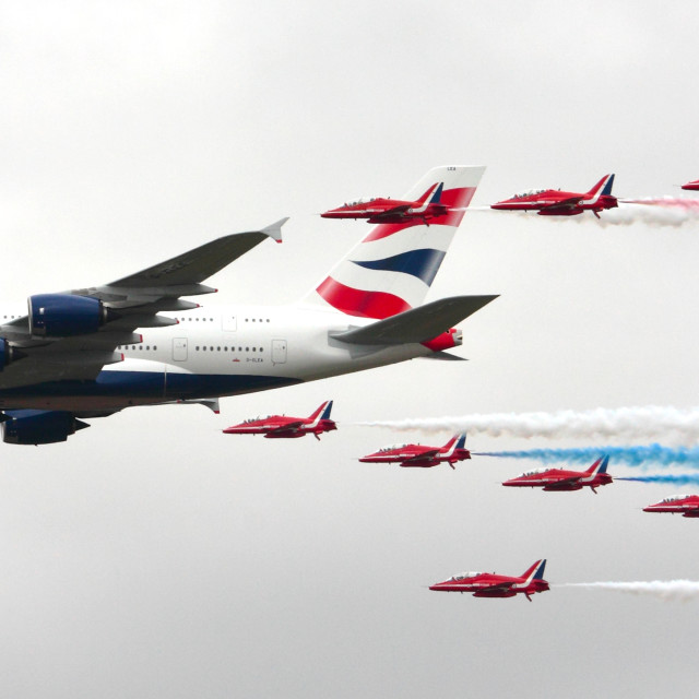 """Red Arrows and Airbus"" stock image"
