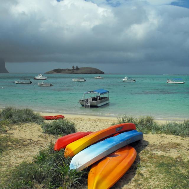 """Lord Howe kayaks"" stock image"