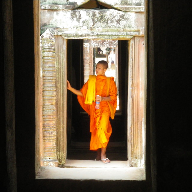 """Buddhist Monk at Angkor Wat, Cambodia"" stock image"
