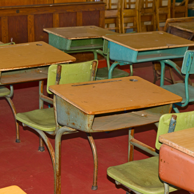 """Old classroom with chairs and tables"" stock image"
