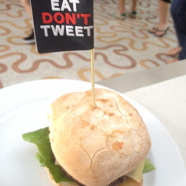 """""""Eat don't tweet burger"""" stock image"""